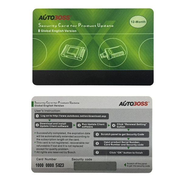 Supplier Autoboss v30 security card Autoboss v30 update card year update