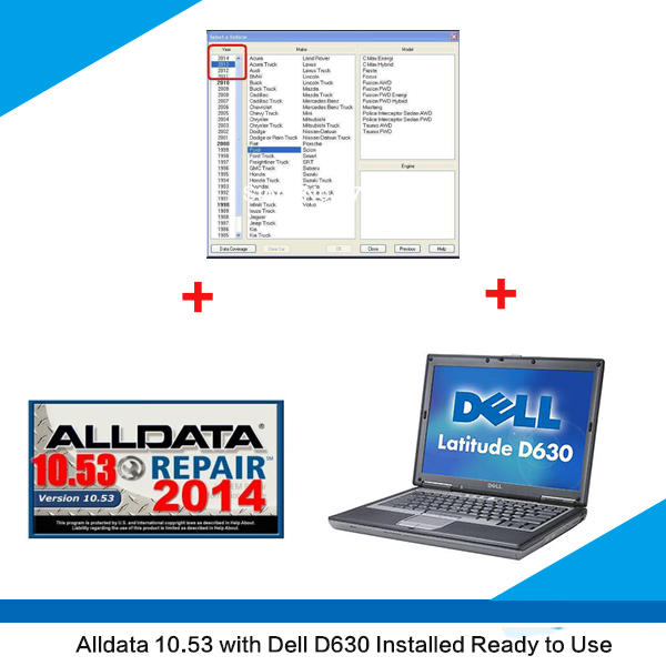 Supplier Alldata 10.53 download Alldata and mitchell on demand 2 in 1 installed on Dell D630 laptop ready to use