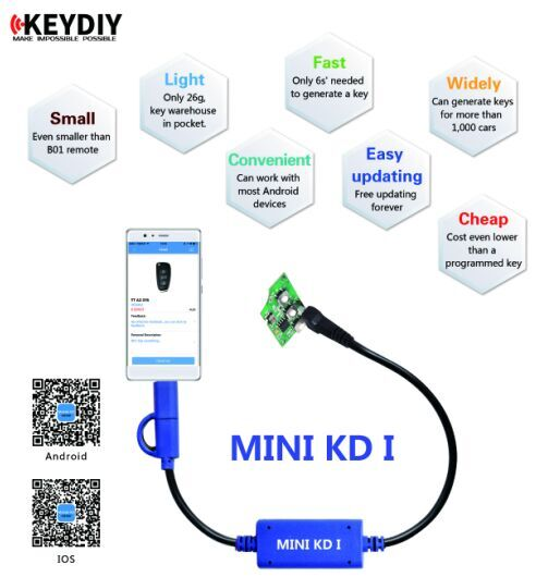 Supplier New Procuct duplicazione chiavi auto  Keydiy Mini KD Mobile Key KD Remote Maker for Android & IOS System