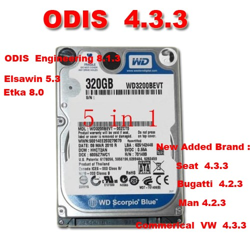 Supplier Vas 5054A  vw audi skoda Odis Latest 4.3.3 Software with Engineer 8.1.3  ETKA 8 and Elsawin 6.0  VAG ODIS 4.3.3 HDD Software