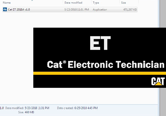 Latest Cat Caterpillar Electronic Technician ET 2018A V1.0  Caterpillar ET Software