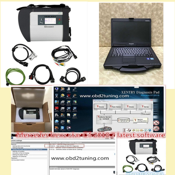 Supplier Mercedes Multiplexer c4 with Panasonic CF-53 laptop Installed Mercedes Benz xentry win 7 2018.9 software