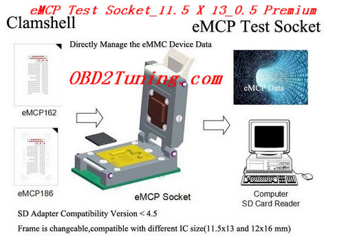 Supplier eMCP Test Socket_11.5 X 13_0.5 * Premium NAND Flash Testing adap