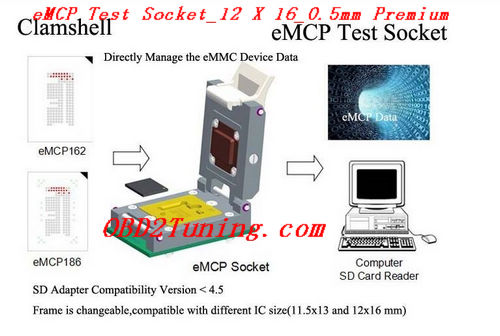 Supplier eMCP Test Socket_12 X 16_0.5 * Premium eMCP NAND Flash adapter